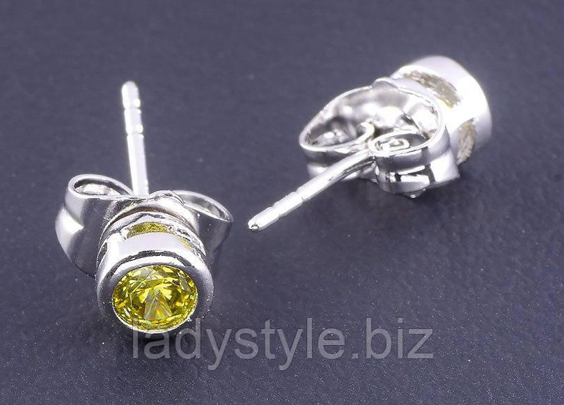 Серьги-гвоздики с  лимонным камнем от студии LadyStyle.Biz