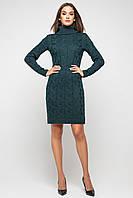 """Зимнее женское модное вязаное платье под горло миди """"Лало"""" много цветов, размер 42-48, длина 100 см"""
