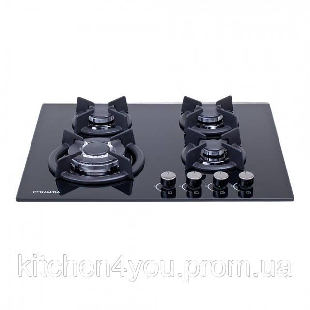 Pyramida PFG 604 STX (600 мм.) газовая варочная поверхность, черное закаленное стекло