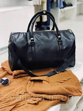 Дорожная сумка из эко кожи ручная кладь черная, фото 2