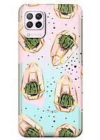 Прозрачный силиконовый чехол iSwag для Honor P40 Lite с рисунком - Кактусы в колбах M1601, КОД: 1691660