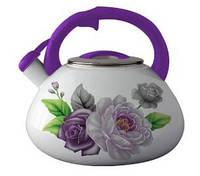 СКИДКА! Чайник индукционный 3,2 литра эмалированный со свистком для плиты «Фиолетовая роза» Zauberg