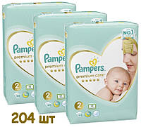 Подгузники Pampers Premium Care 2 (4-8 кг), 204 шт. (3x68шт)