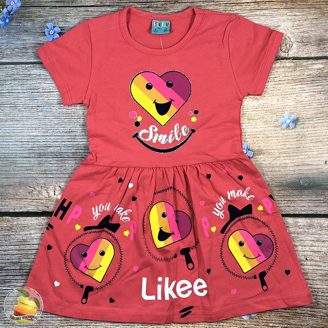 """Сукня з коротким рукавом """"Smile+ Likee"""" для дітей Розміри: 3,4,5,6 років (20378-2)"""