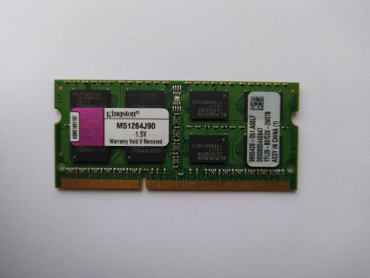 Оперативная память для ноутбука SODIMM Kingston DDR3 4Gb 1333MHz PC3-10600S (M51264J90) Б/У