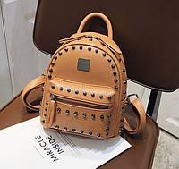 Качественный женский мини рюкзак Коричневый