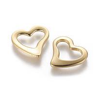 Кольцо закрытое сердце из нержавеющей стали 15 мм золото для рукоделия
