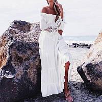 Сарафан женский модный с кружевом белый 115в