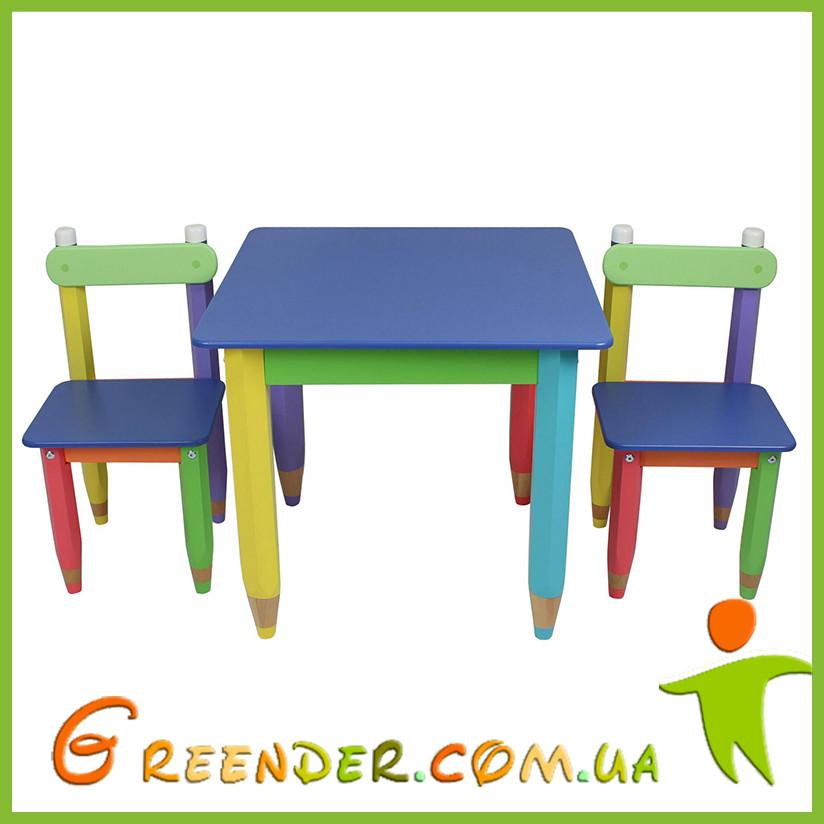 """Детский набор """"Карандашики"""" 60х60 (столик и 2 стульчика) в 4 цветах"""