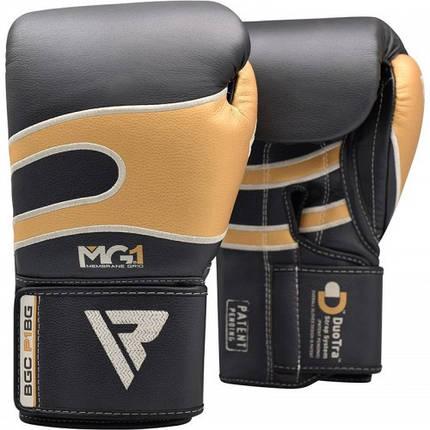 Боксерские перчатки RDX Leather Black Gold 14 ун., фото 2