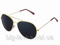 Очки с дырочками для тренировки зрения перфорационные  Золотой