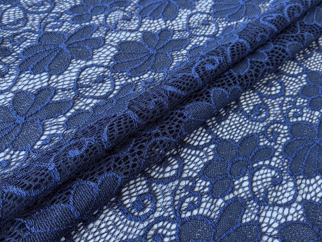 Гипюр классика цветочная композиция, темно-синий
