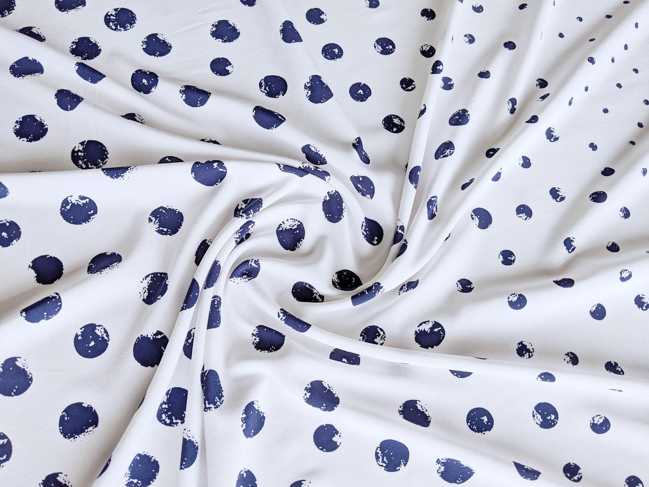 Французская вискоза софт купон горошки, сине-белый