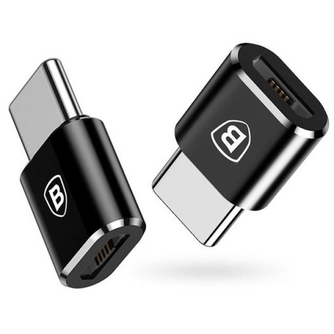 Переходник Baseus Female Microusb To Type-C Male Adapter Converter Black