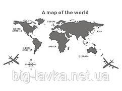 Наклейка виниловая Карта мира 3D декор XXL  Серый