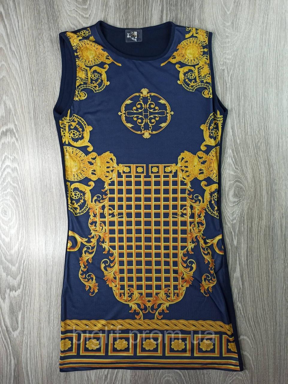 Туника (ночнушка) Teknur  М (42-44) синий с золотыми узорами (0-212)