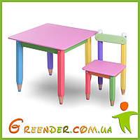 """Комплект столик """"Карандашики"""" 60*60 с пеналом и двумя стульчиками"""