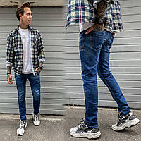 2388 Natsui джинсы мужские с царапками синие весенние стрейчевые (30-38, 8 ед.), фото 1