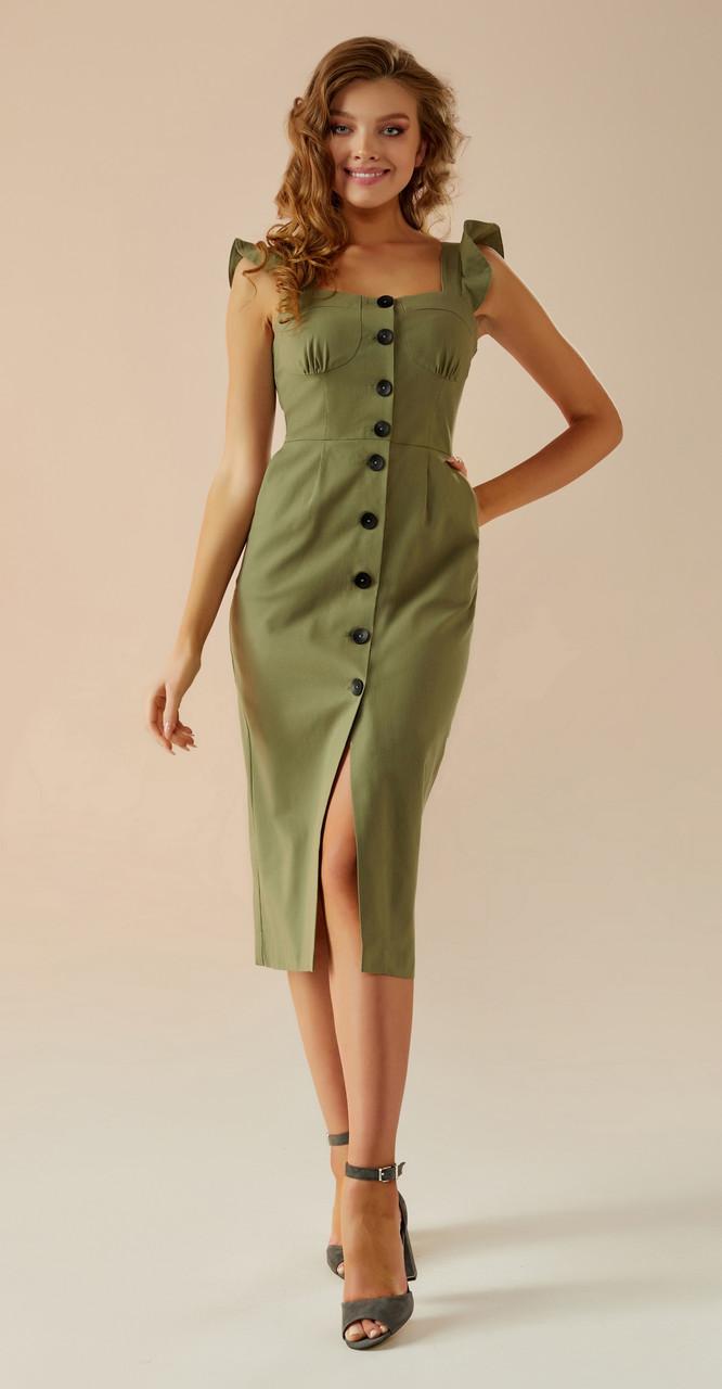 Платье Andrea Fashion-AF-2/1 белорусский трикотаж, хаки, 44