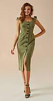 Платье Andrea Fashion-AF-2/1 белорусский трикотаж, хаки, 44, фото 1