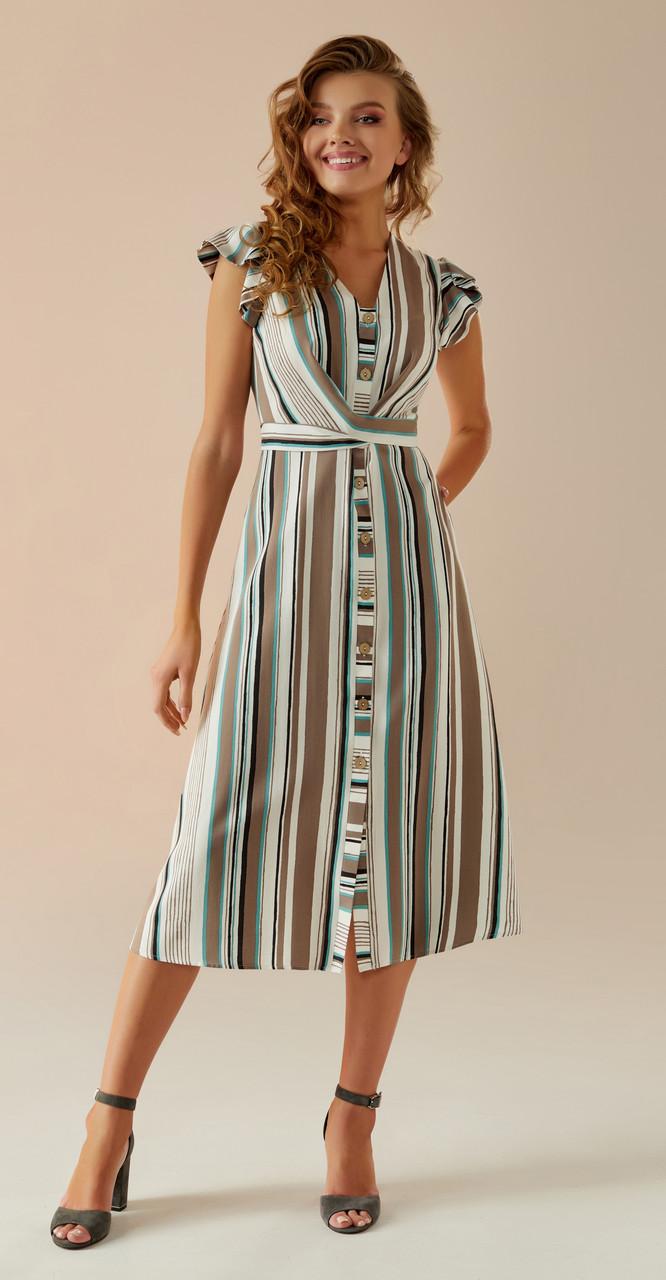 Платье Andrea Fashion-AF-3 белорусский трикотаж, бежевый, 44