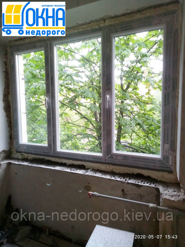 Трьохстулкове вікно Salamander 2D Київ вул. Шевельова 49/20 фото 6 бригади