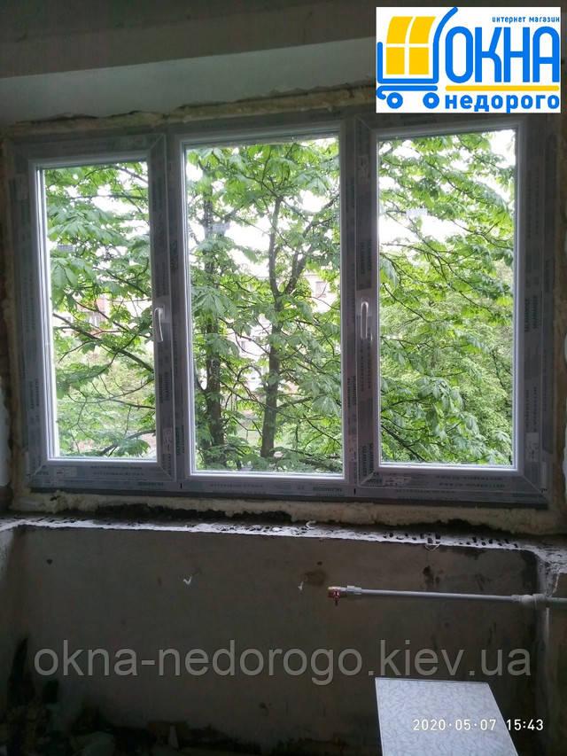 Трехстворчатые окна Salamander в Киеве на ул. Шевелева 49/20 фото работы бригады №6