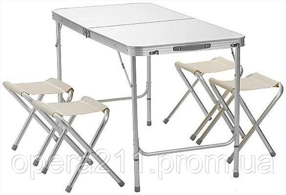 Стол для пикника усиленный с 4 стульями FOLDING TABLE (раскладной чемодан) / Cеребро