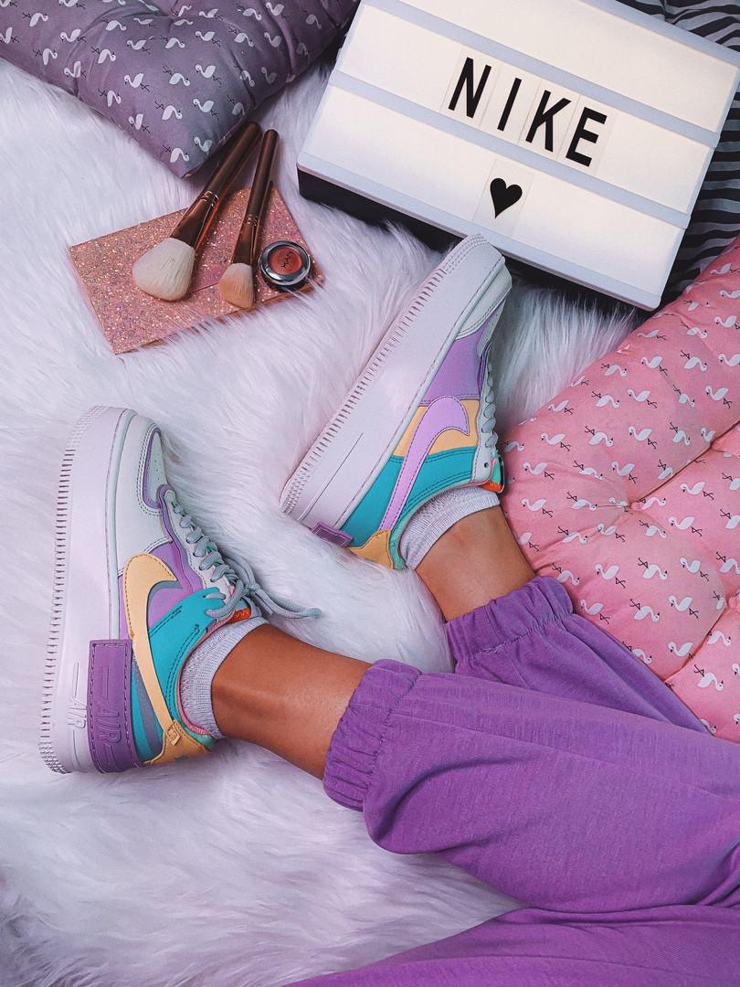 Кроссовки женские Nike Air force 1 Multicolor.Яркие женские кроссовки Найк.