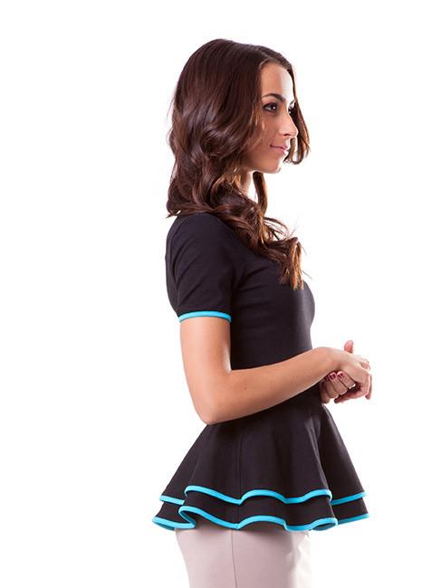 Стильная женская футболка с баской (размеры S, M, XL)