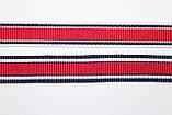 Тесьма Репс 15мм 50м белый + синий + красный, фото 3