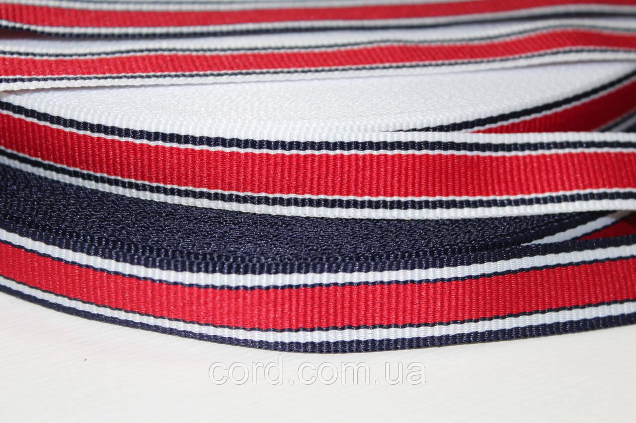 Тесьма Репс 15мм 50м белый + синий + красный