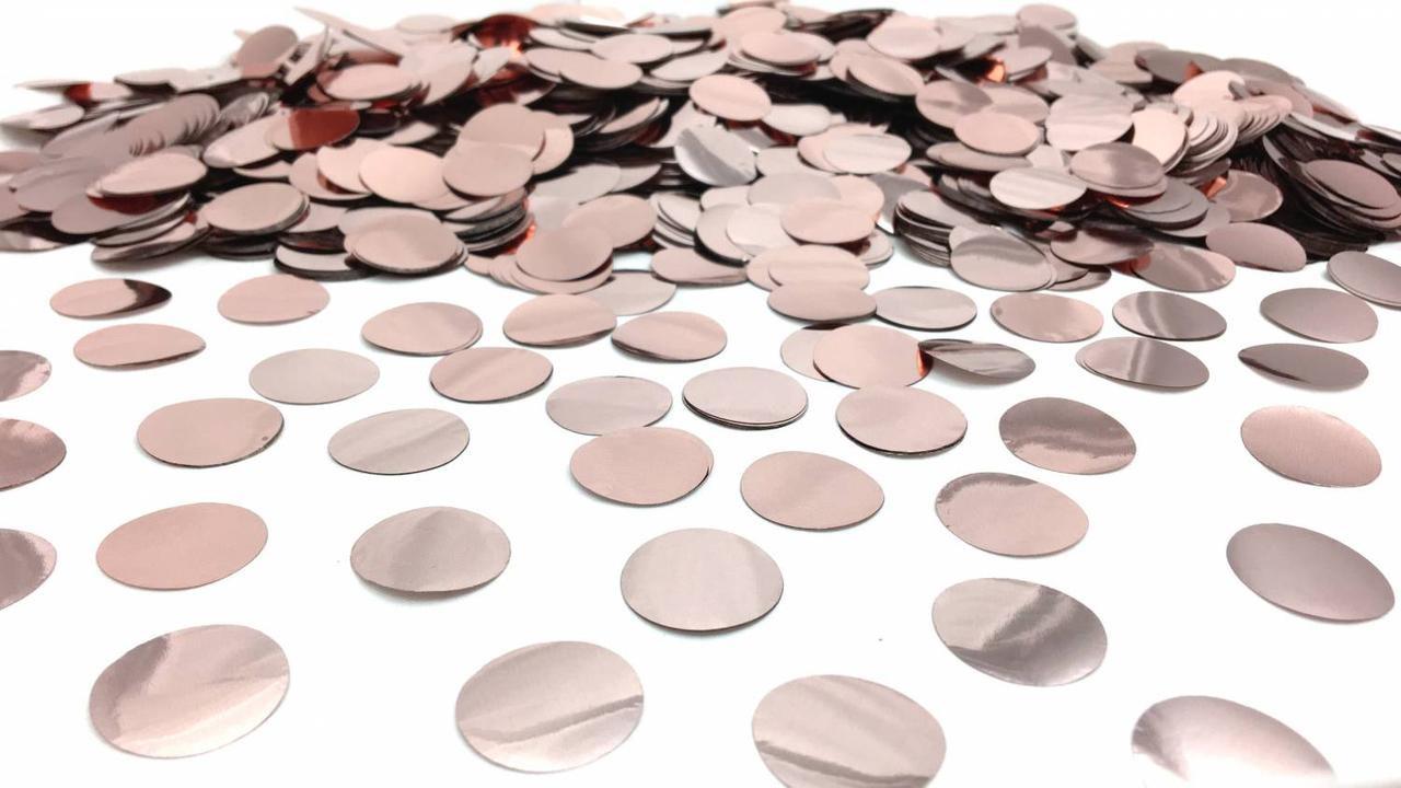 Конфетті кружечки рожеве золото 23 мм вага 25 гр