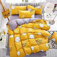 Комплект постельного белья Бязь GOLD смайлики на желтом Семейный