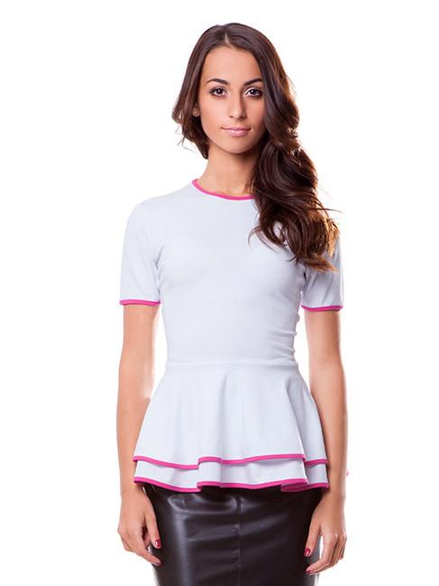 Нежная женская футболка с баской (в размерах XS-XL)