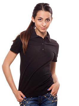 Чорна жіноча футболка-поло (розміри XS-2XL)