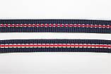 Тесьма Репс 15мм 50м синий + красный + белый, фото 2