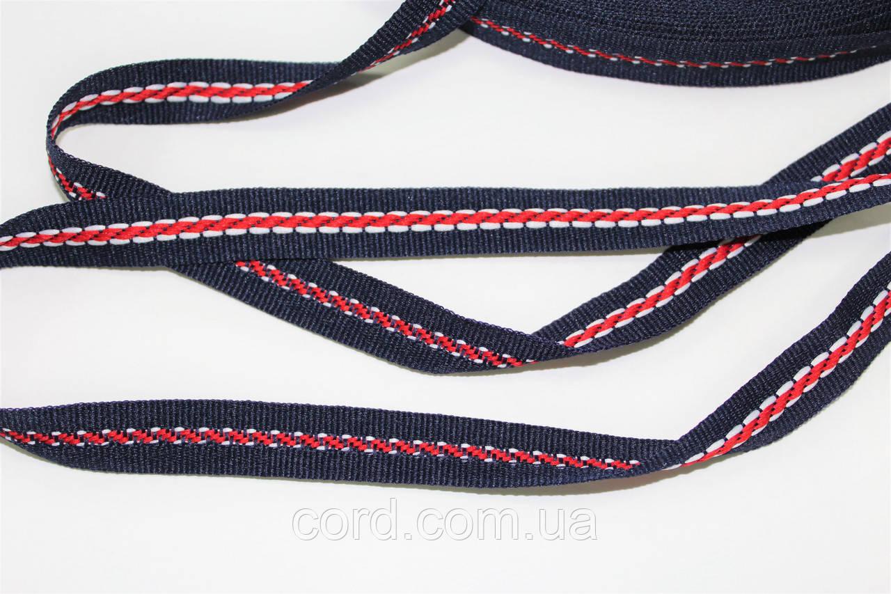 Тесьма Репс 15мм 50м синий + красный + белый