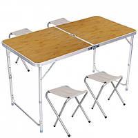 Стол для пикника раскладной со 4 стульями Folding Table 120х60х55/60/70 см 3 режима высоты (Бамбук)