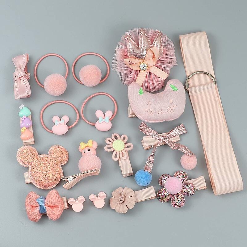 Набор резинок заколок / детских украшений для волос подарок девочке  Розовый БЕЗ коробки