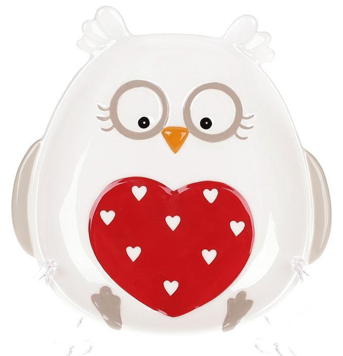 Купить Набор 4 тарелки Bona Совушка с сердцем 17.3х16.8 см керамические (psg_BD-834-200)