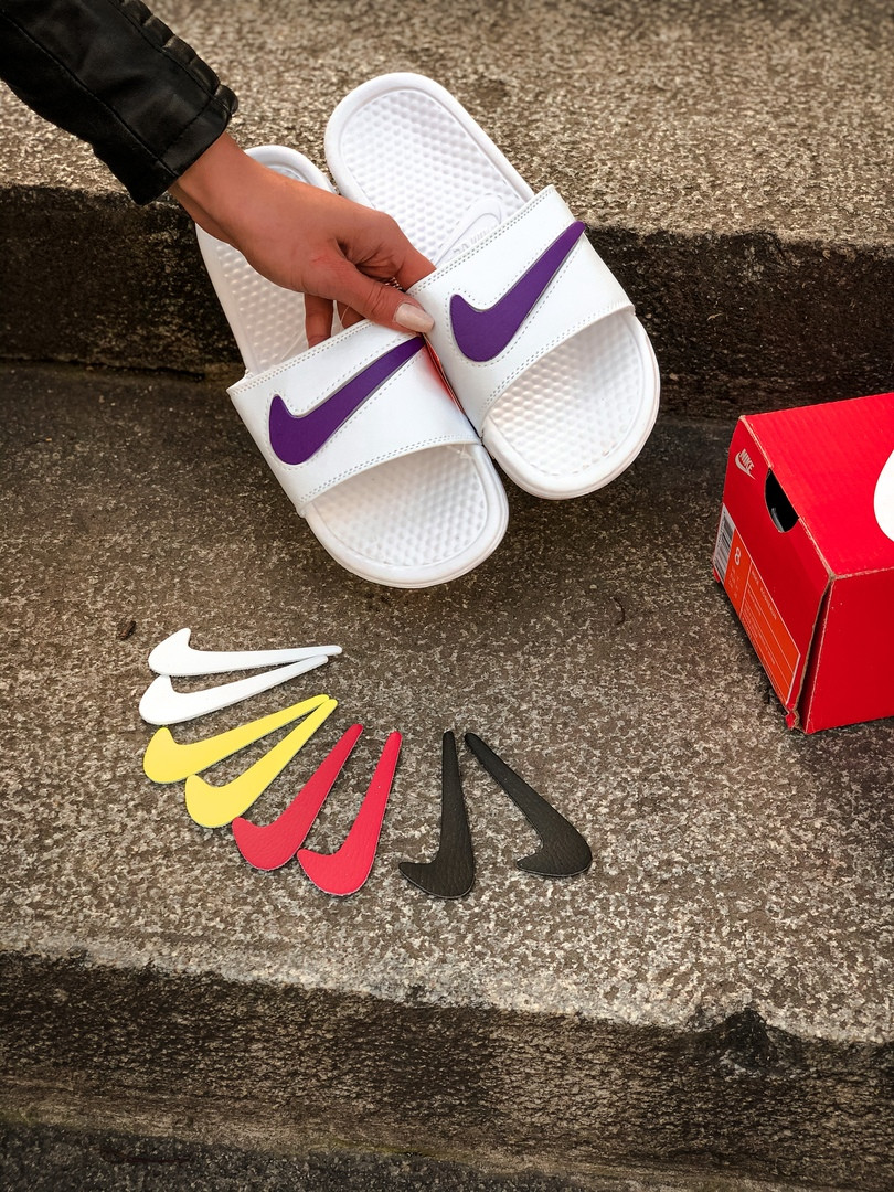 Сланцы  женские Nike. Шлёпанцы женские Nike со сменным значком . ТОП КАЧЕСТВО !!! Реплика класса люкс