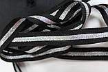 Тесьма Репс 15мм 50м черный + серебро, фото 2