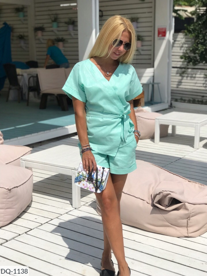 Женский льняной костюм с шортами размеры SM, ML ментол
