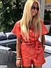 Женский льняной костюм с шортами размеры SM, ML, фото 2