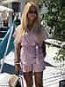 Женский льняной костюм с шортами размеры SM, ML, фото 3