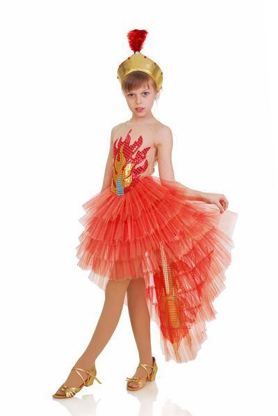 Жар-птица карнавальный костюм для девочки \ размер 110-116; 122-128; 134-140 \ BL - ДС172