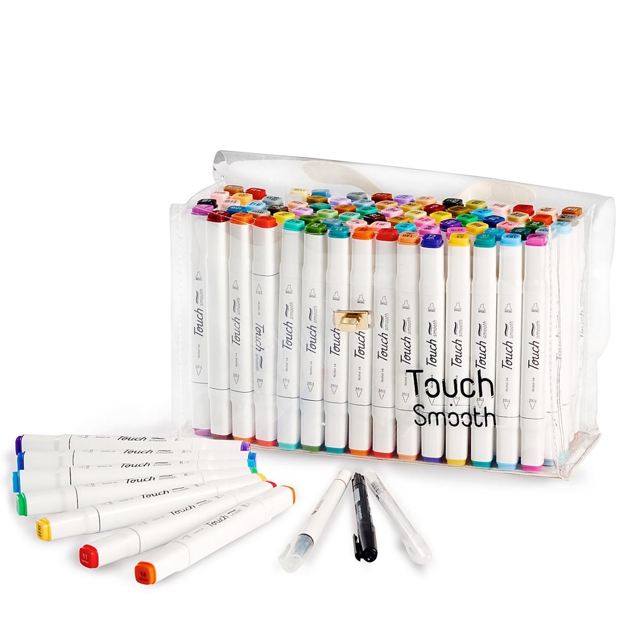 Набор двусторонних маркеров Touch Smooth для рисования и  скетчинга на спиртовой основе  60 штук