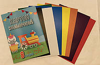 Цветной картон 8 листов А4 210*297 мм, плотность 170 г/м2