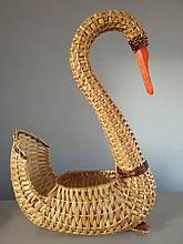Подставка для цветов Лебедь из натуральной лозы  Эко